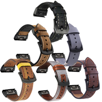 Leder Band Armband Armband Für Garmin Fenix 5/5X Plus/6/6X Pro/MK1/935 smart Armband 22 26mm Schnell einfach Fit Armband Strap