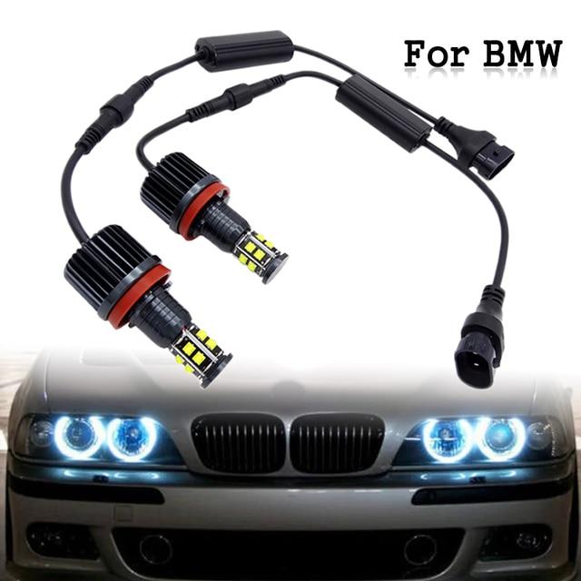 1 paar Auto 120W H8 LED Angel Eyes Scheinwerfer Weiß Driving Licht Lampe Für BMW E39 E63 E70 E82 e90 E92 X3 X5 X6 Z4 2007 13