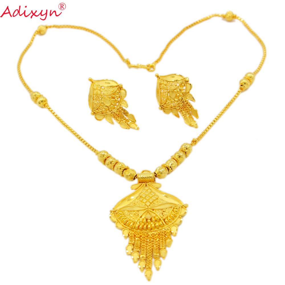 Adixyn 2020 New Dubai Gold Earrings/Chokers Chain <font><b>Jewelry</b></font> <font><b>sets</b></font> <font><b>for</b></font> <font><b>Women</b></font> Gold Color African/<font><b>Nigeria</b></font> Jewellery Gifts N2232 image