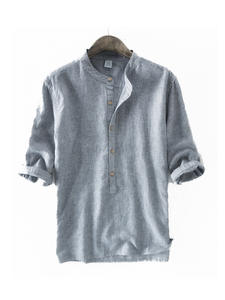 Linen Shirts Men's Clothing Short-Sleeve Spring Striped Plus-Size Casual Fashion Summer