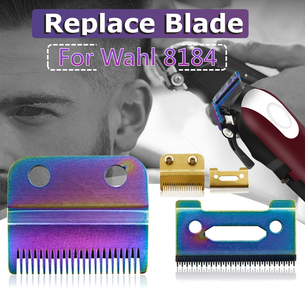 Movable Blade Professional Hair Clipper Blade Replace Cutter Head Metal Bottom Clipper Accessories Golden Blade For Wahl 8148