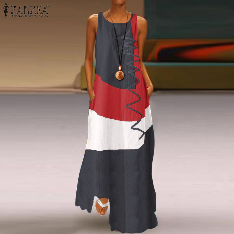 ZANZEA 2019 Women's Vintage Color Stitching Maxi Dress Summer Sleeveless Tank Vestidos Female O Neck Sundress Casual Robe Femme7