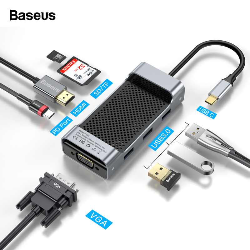 Baseus USB C HUB Type C To USB3.0 HDMI VGA RJ45 HUB Multi USB 3.0 Power Adapter Type-c HUB For MackBook Pro Air USB-C Splitter