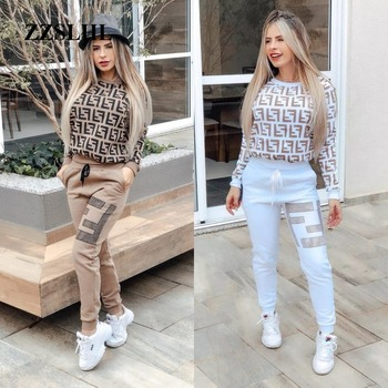 Woman Clothing Autumn Tracksuits Two Piece Outfit Set FF Printed Fleece Pullover +woman Pants Casual 2 Sets Womens Outfits