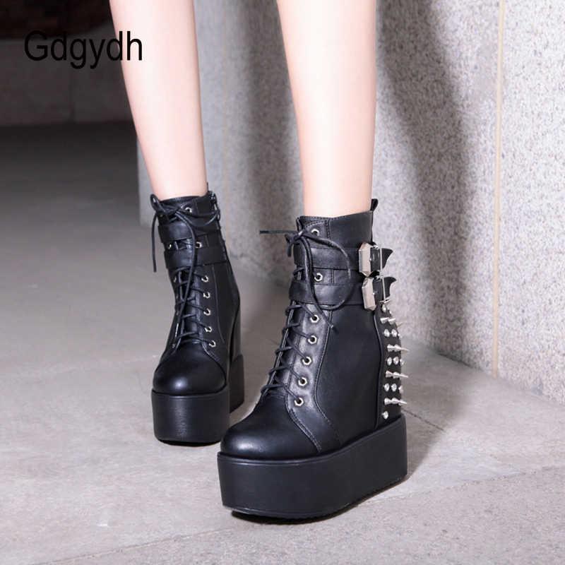 Gdgydh 2020 Mũi Tròn Kim Loại Đinh Tán Ankel Giày Cho Nữ Màu Đen Trắng Gothic Nữ Thả Vận Chuyển Nêm Giày Cao Gót giày