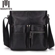 MISFITS 2020 yeni hakiki deri erkek omuz çantası erkek moda evrak çantası iş crossbody çanta bolsos hombre erkek postacı çantası