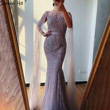 Serene Hill dubaj różowy luksusowe długie rękawy suknia wieczorowa z Cape 2020 Mermaid kształtki Sexy Fromal ubrania imprezowe suknia CLA70160