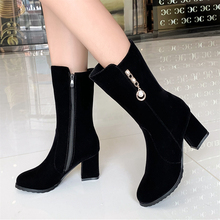 Plus Size 34-43 Fashion Shoes Woman Female Boot Suede Boots Women's Booties Boots Thick with Women Booties Ankle Boot High Heel