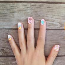 96 sztuk 4 pudełka dzieci sztuczne paznokcie pełna okładka fałszywe paznokcie naklejka do paznokci tanie tanio CN (pochodzenie) Girl Fake Nails Artificial Nails Full Cover Nail Tip Girls False Nail Press On Nails