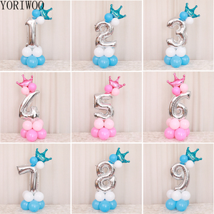 YORIWOO Foil Balloons Numbers 1 2 3 4 5 6 7 8 9 Happy Birthday Balloon 1st Birthday Party Decorations Kids Baby Shower Boy Girl(China)