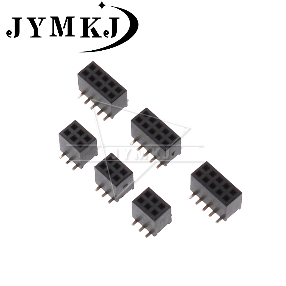 10PCS 2X3 4 5 6 7 8 10 12 15 20 25 30 40 Pin <font><b>1.27</b></font> <font><b>mm</b></font> Double Row Female Straight Header Pitch Socket Pin Strip 1.27mm Connector image