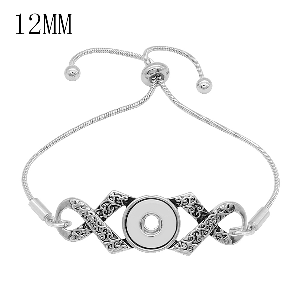 2019 Newest Fashion Adjustable Chain Bracelets Metal Snap Bracelet Fit 12MM Snap Buttons DIY Snap Jewelry For Women Girl image