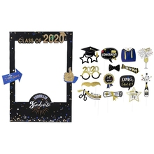 Graduation Photo Booth Props with Class of 2020 Grad Photo Booth Frame Selfie Picture Frame DIY Kit for Graduation Party Decorat 10pcs diy photo frame wooden clip paper picture holder wall decoration for wedding baby shower birthday party photo booth props