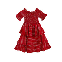 Summer Girls Ruffled Collar Dress with Flare Hem At Neck Girls Shoulderless Elegant Dots Dress Beautiful Princess Hair Dresses girls zip back raw hem plaid dress