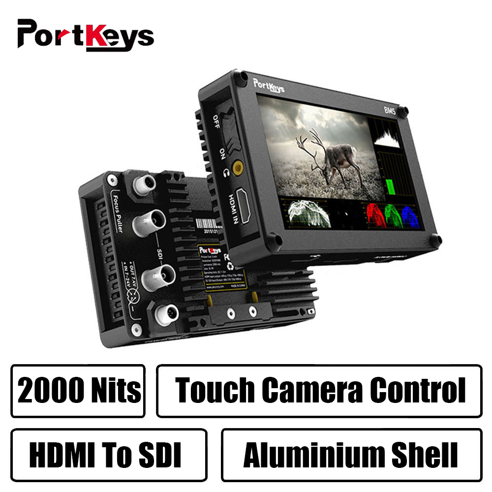 Portkeys BM5 3G-SDI/HDMI Input 2000nit Touch Screen 3D-LUT Aluminum Shell On-Camera DSLR Monitor With Control Cable