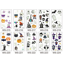 new Year Halloween Luminous Sticker Funny Party Atmosphere Props Waterproof Fake Tattoo Stickers Pack of 10pcs