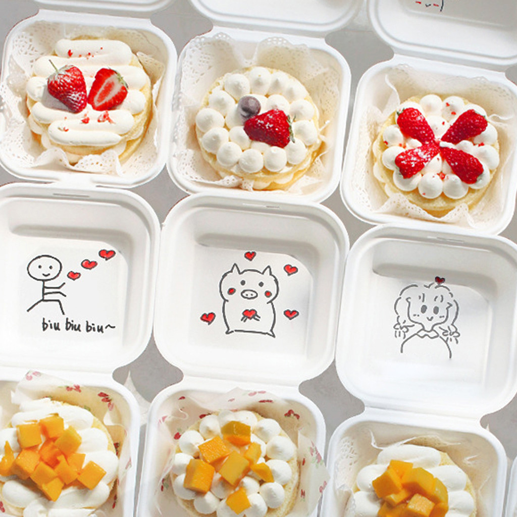 Bento Box Disposable Lunch Box Burger Sushi Snack Box Baked Cake Box Microwave Home Portable Lunch Box 10 Pack #YL5