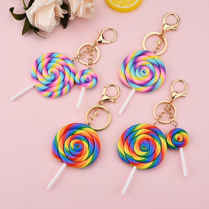 Simulation Rainbow Lollipop Keychain Girl Cute Candy Color Round Car Keyring Key Holder Resin Key Chain Kids Gift Llaveros
