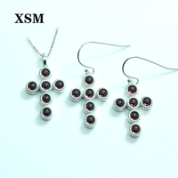 XSM Fine Jewelry Silver 925 Jewelry Setscross Natural Red Garnet Gemstone Earring Pendant for women Engagement High grade Gift