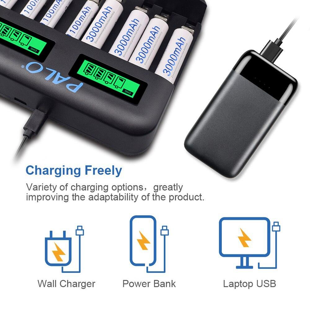 Купить зарядное устройство palo 8 слотов с жк дисплеем aa aaa sc c