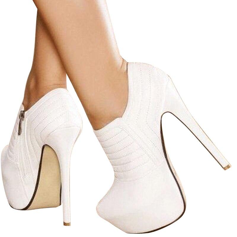 Pós carro branco Livre linha de tecidos de couro, zíperes, à prova d' água 4.5 cm, 16 cm alta sapatos de salto alto, quatro estações sapatos. Tamanho: 35 43 - 2