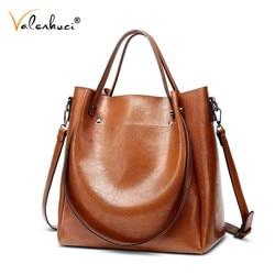 Valenkuci Casual Large Women Tote Shoulder Bag PU Leather Ladies Bucket Handbag Messenger Bag Soft Shopping Crossbody Bag Female