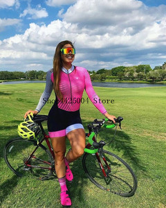 Image 4 - Pro Team Triathlon Suit Womens black pink long sleeve Cycling Jersey Skinsuit Jumpsuit Maillot Cycling Ropa ciclismo set gel