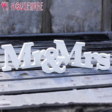 Wedding table decoration wooden Mr and Mrs birthday party decorations Valentines day white letters wedding sign in(China)