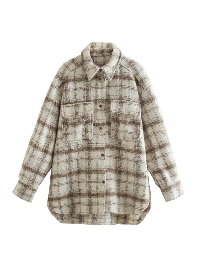 Stylish Chic Coffee Beige Plaid Shirt Jacket Women Fashion Turn down Collar Pockets Buttons Coat Girls Chic Streetwear|Jackets| - AliExpress