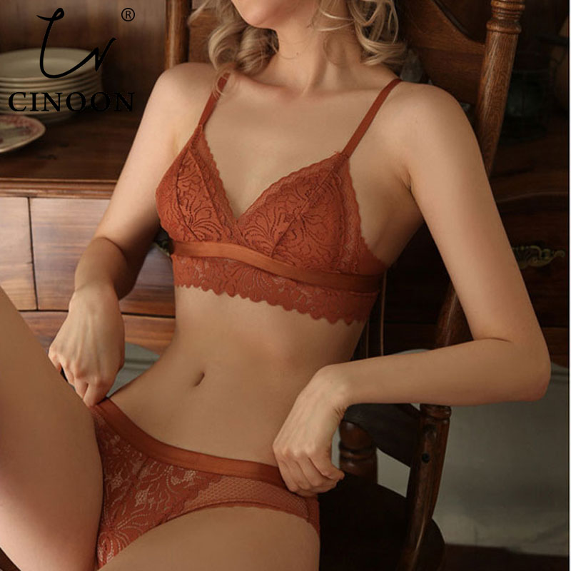 CINOON New French underwear Set Lace Sexy Push-up Bra And Panty Sets Comfortable Brassiere Wire Free Embroidery Flowers Lingerie 1
