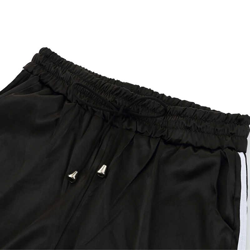 Casual Frauen Sport Hosen Elastische Taille Lose Kordelzug Bleistift Pantalon Femme Gestreiften Gym Hose Stretch Stretch Jogger