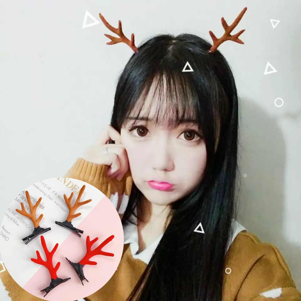 Oppohere bonito tema de natal veado chifre clipes de cabelo chique meninas festa antlers hairband ornamentos presente natal decoração para casa