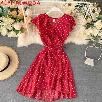 ALPHALMODA 2020 Summer New Ruffled Dress Women V-neck Binding Up Irregular Ruffled Polka Dot Cute Beach Chiffon Dress