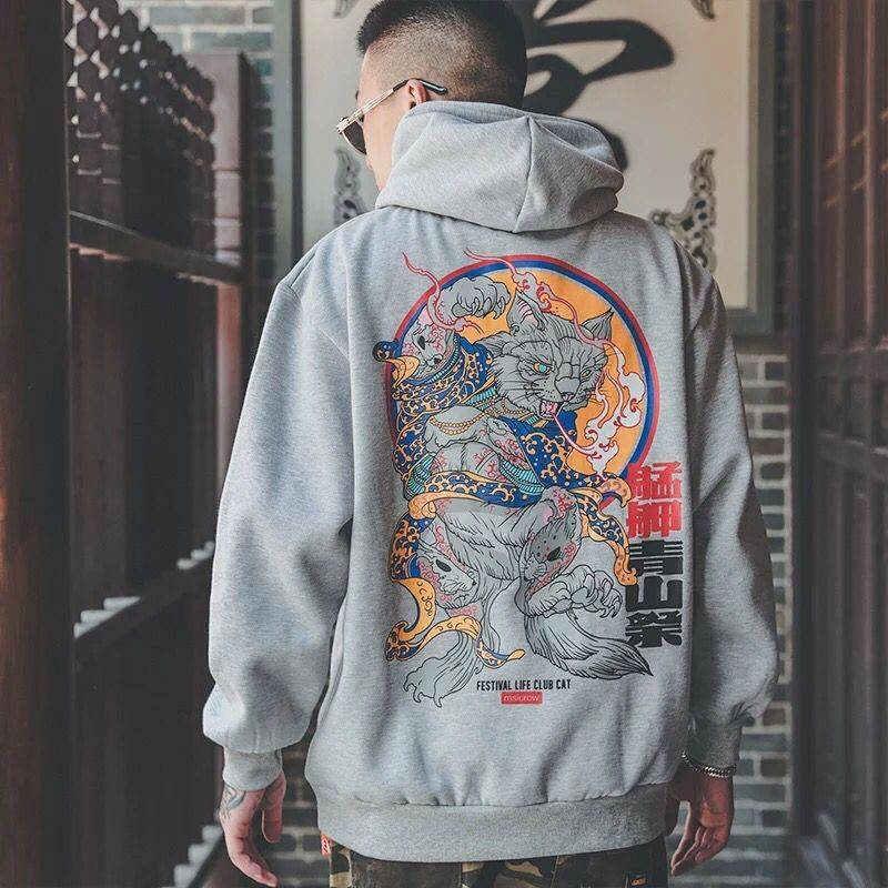 Moda erkekler serin erkekler Hip Hop Hoodies japon rahat tişörtü Streetwear erkekler kadınlar gevşek kazak Harajuku şeytan Hoodie erkek