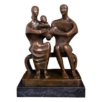 Estatua de bronce abstracta de amor para la familia Escultura Moderna de Metal ilustraciones figuritas regalos del Día de la madre del Padre decoración del hogar