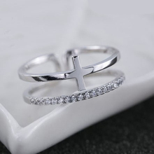 New Arrivals 925 Sterling Silver Rings Cross Double Crystal Ring For Girl Women