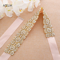 Rose Gold Rhinestones Bridal Dress Belt Pearls Wedding Belt Crystal Bridal Sash For Wedding Dresses ZZY202G