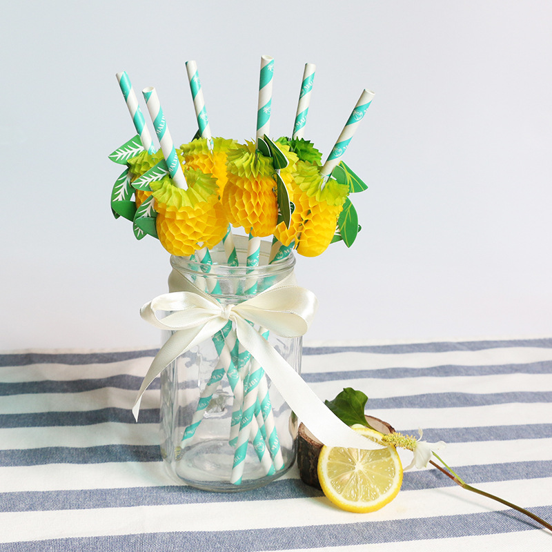 Pineapple Paper Sucker Environmentally Friendly Disposable Paper Straw Artistic Straw Bar Supplies Cocktail Straw