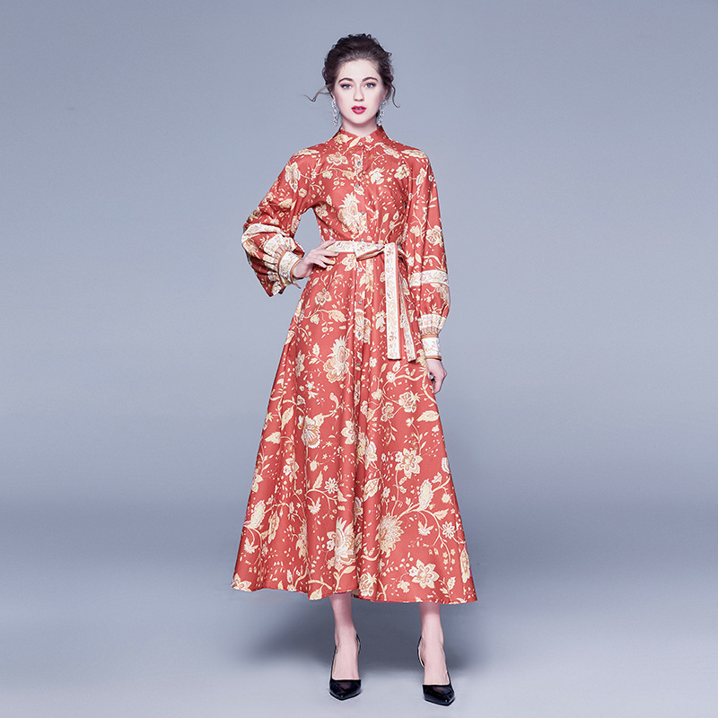 2019 Autumn New Style WOMEN'S Dress Printed Single Breasted Dress Rich Lady Stand Collar Long Sleeve Big Hemline Slim Fit Elegan