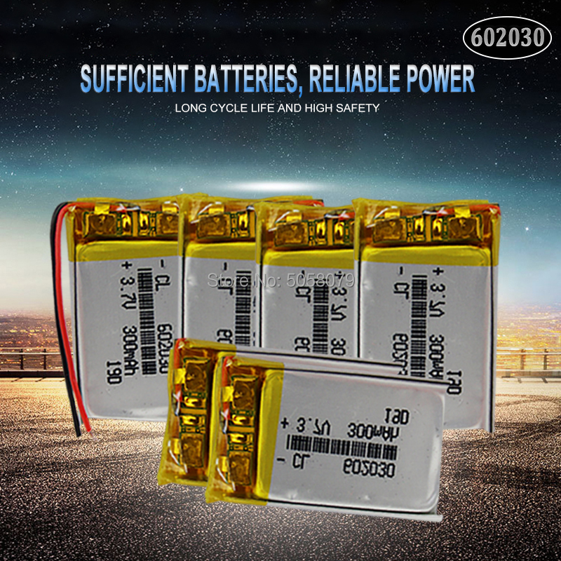 20pcs 3.7V 300mAh <font><b>602030</b></font> Lithium Polymer Li-Po Rechargeable Battery For Smart Watch PSP LED Lamp RC Helicopter image