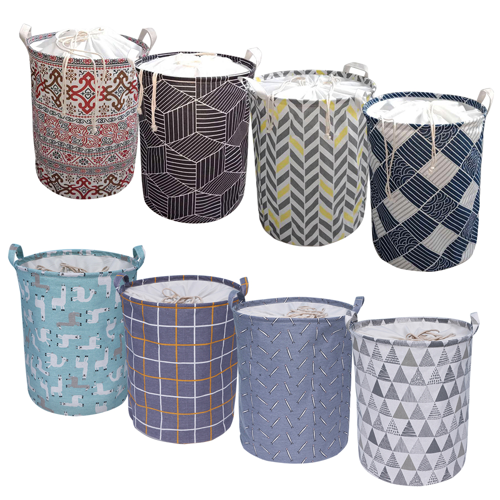 40x50cm Geometric Folding Laundry Basket Round Storage Bin Bag Hamper Collapsible Clothes Bucket Organizer Large Capacity