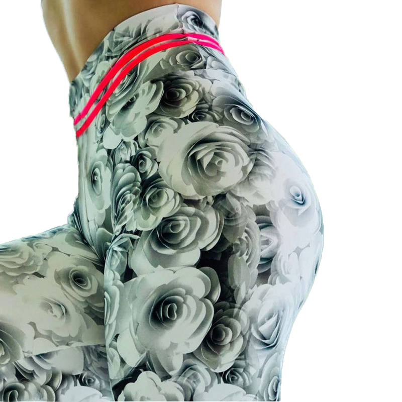 Fitness Leggings Modis Legging Plus Size High Waist Gym Push Up Pants NEW 3D Floral Women's Legings Sexy Rose Black Gray Casual