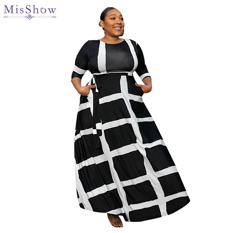 US $25.99 30% OFF|MisShow Plus Size Half Sleeve Black White Casual Women  Dresses 2019 5XL O Neck A Line Striped Maxi Dress For Women Robe Femme-in  ...