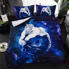 White Tiger Blue Color Galaxy Bedding Set Animal print Duvet Cover With Pillowcase Twin Queen King Size Bed 3pcs Bedclothes
