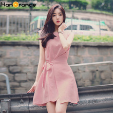 2019 New Thin Fashion Dress Bow Waist Sashes Spring Summer Retro Sleeveless Linen Pink