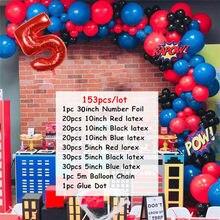 153 pçs spiderman látex arco kit guirlanda balão 30