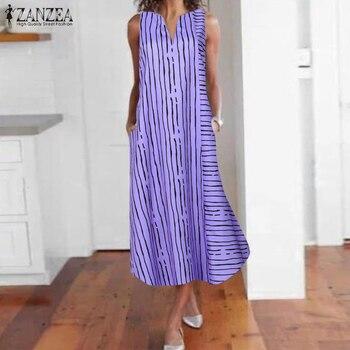 Vestido veraniego sin mangas ZANZEA 2020 para mujer, Vestidos a rayas a la moda, vestido informal elegante con cuello en V estampado, vestido femenino Sarafans