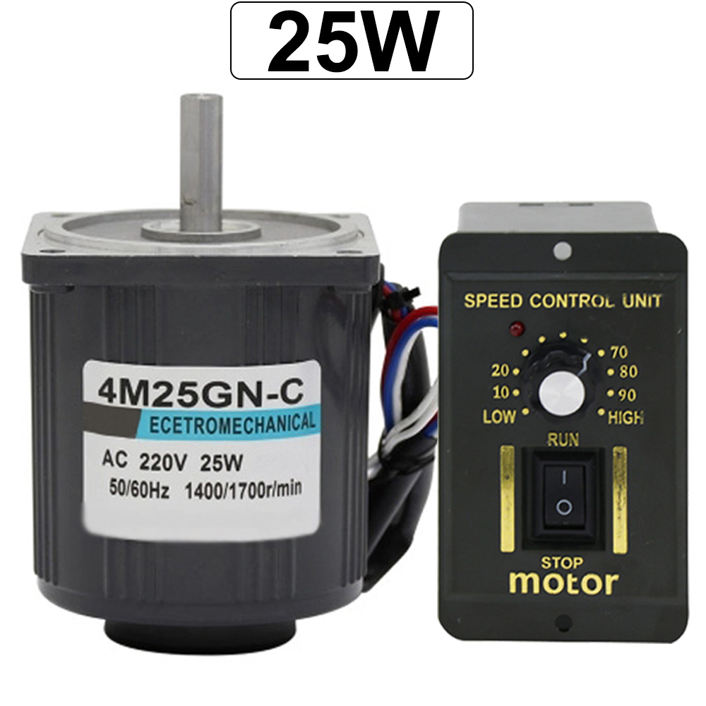 Monophasé 220V AC motoréducteur à faible vitesse vitesse réglable CW CCW 25W