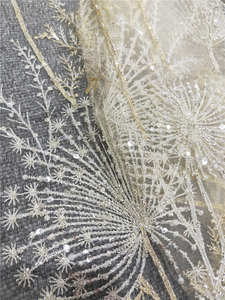 Image 5 - 1 Yard Luxury Gold bead dandelion sequin tulle embroidery lace fabric haute couture fabric lace DIY craft wedding 135cm wide