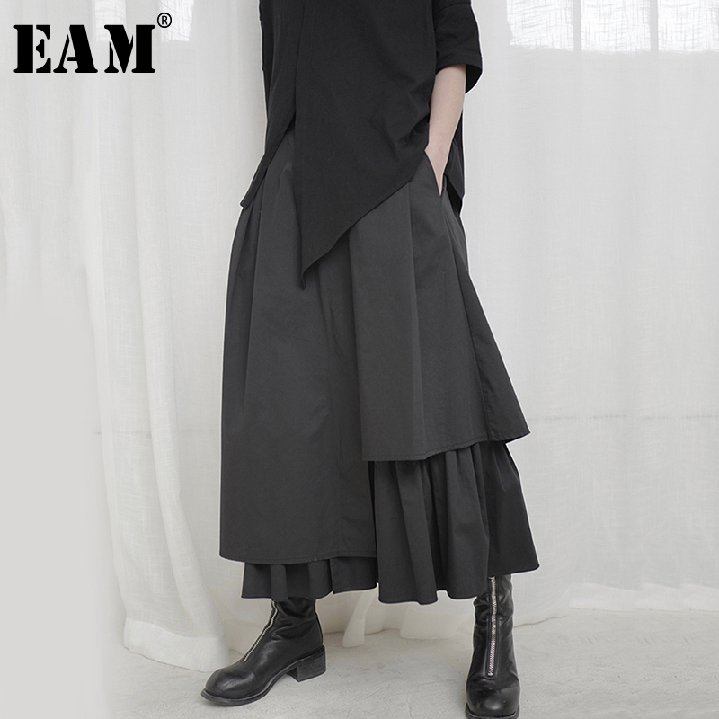 [EAM] High Elastic Waist Black Asymmetrical Pleated Temperament Half-body Skirt Women Fashion Tide New Spring Autumn 2020 1S664
